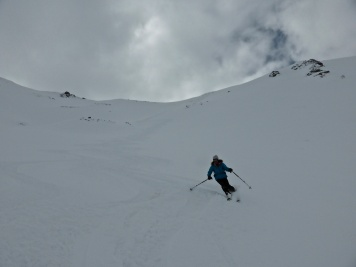 Louise coming down the top of Grand Vallon