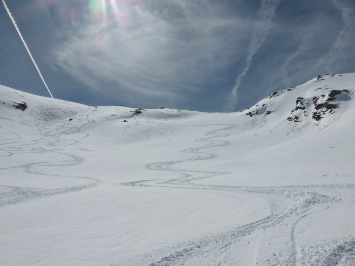 Making tracks in the Vallonnets, Val d'Isere