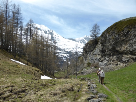 Past the cliff, looking back towards Mont Pourri
