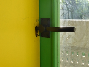 Especially designed door handles and locking system