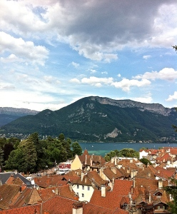View over Lake Annecy from the castle courtyard