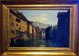 Annecy, river Thiou before the 1854 embankment was built. Painting by Paul Cabault, Palais de l'Isle