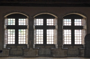 Annecy castle, traditional windows with stone seats
