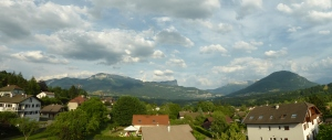 View over the mountains from our bedroom - spot the party getting underway...