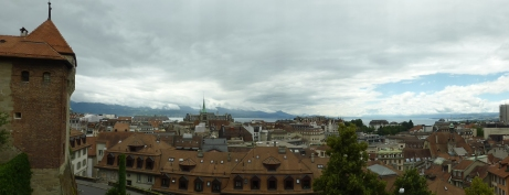 View over Lausanne from cathedral court