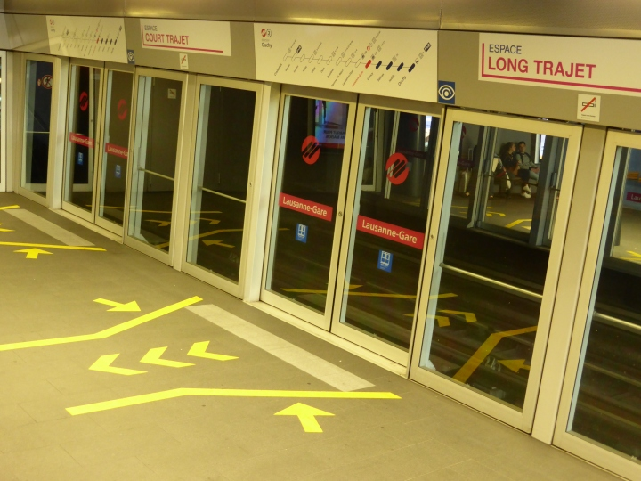 Long and short of it: Lausanne underground invests passengers to position themselves in the carriage depending on the length of their journey