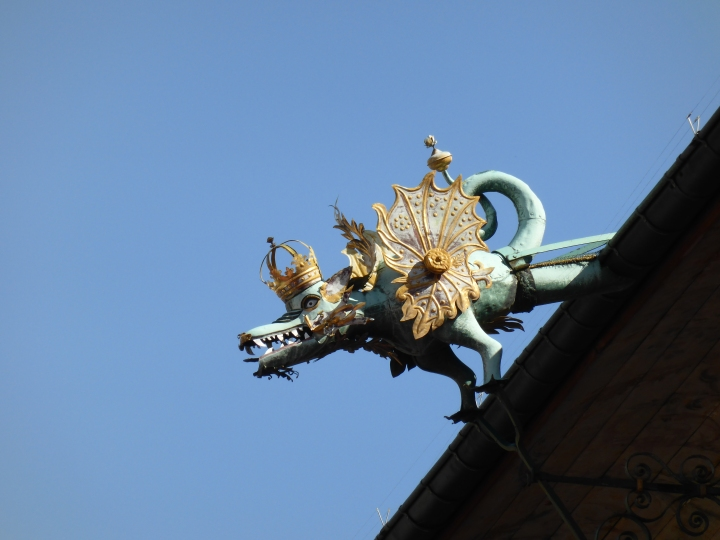Grinning gargoyle on Lausanne townhall