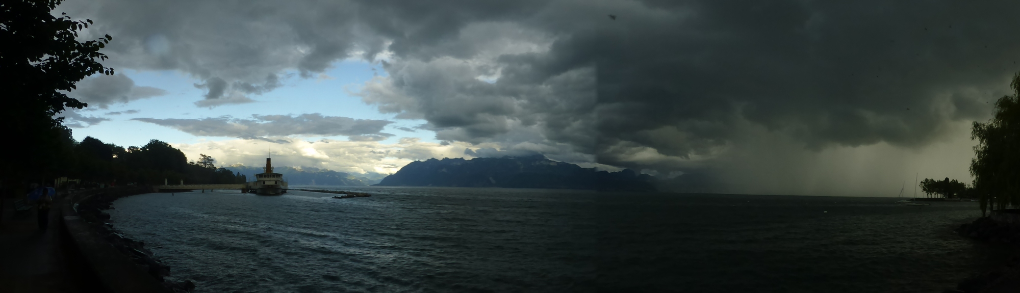 Lausanne: storm rolling over the lake