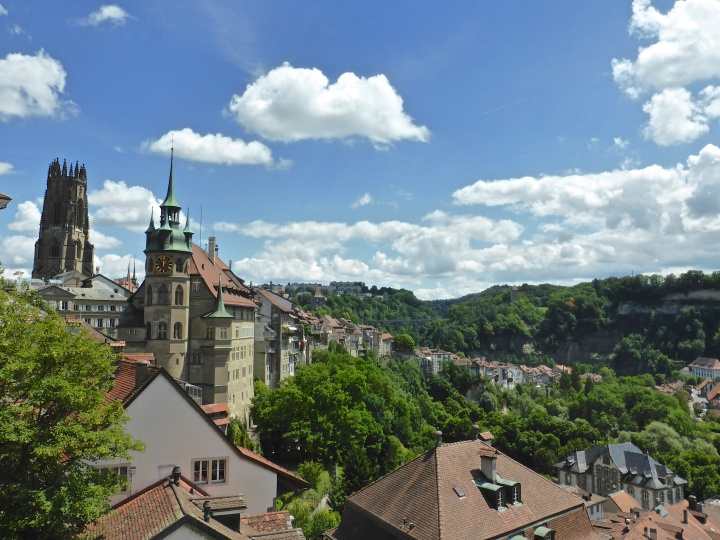 Fribourg: stunning view from the cliff top