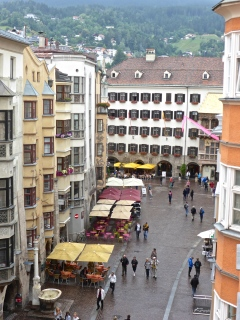 Innsbruck city centre from our hotel window