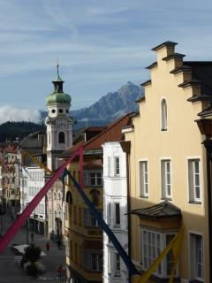 Innsbruck city centre from our hotel window, the next morning