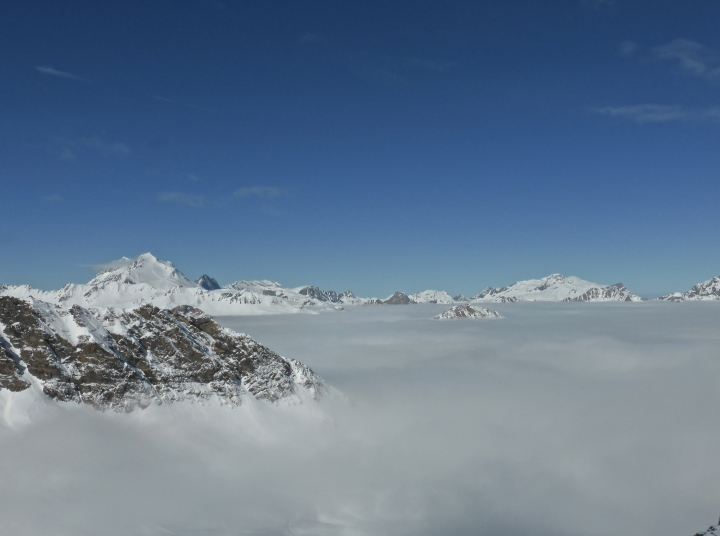 Val d'Isere from the Combe du Signal: still below the clouds at 9:45