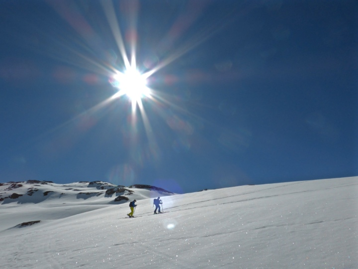 Skinning up towards Mont Roup