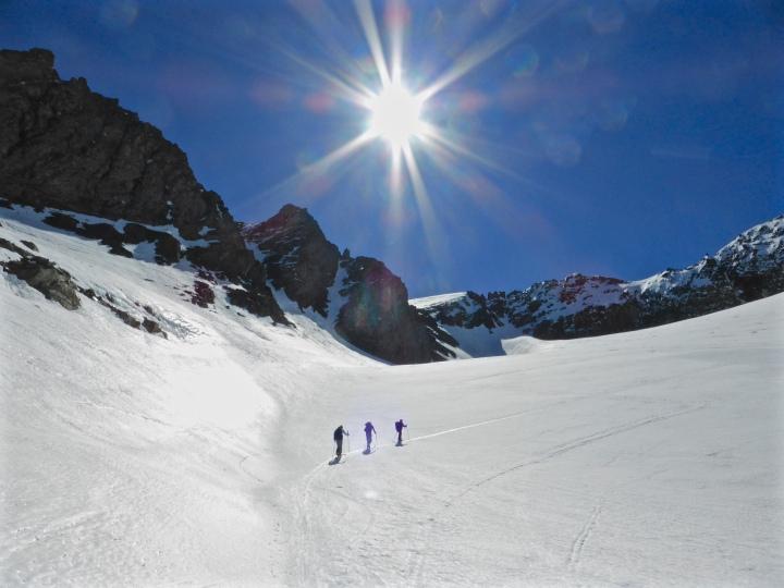 Skinning up Glacier du Gros Caval