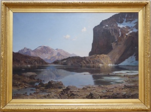 Guetal's vast realistic painting of Lac de l'Eychauda