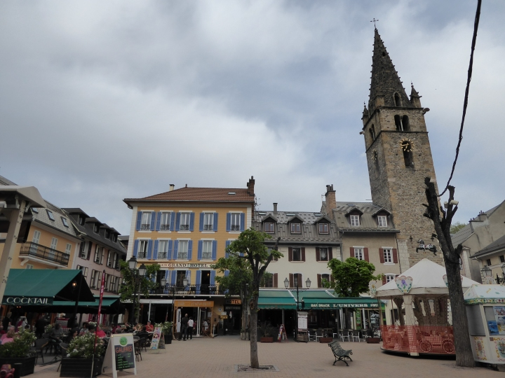 Barcelonnette: Place Manuel, and the Grand Hotel, where we're staying