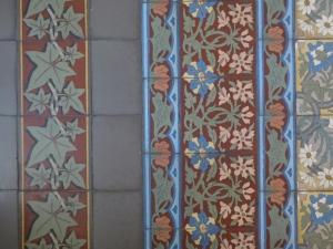 Original died cement floor tiles at La Sapinière