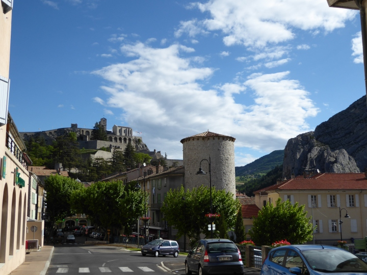 Sisteron: the citadel, remaining defence tower and the rock face over the Durance