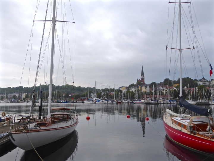 Flensburg: old sailing boats on the waterfront