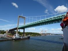 Arriving in Göteborg: squeezing under the gigantic Älvsborg bridge