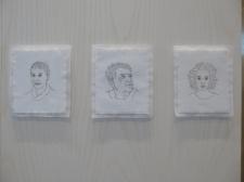 Göteborg cathedral: stitched portraits on canvas by Klara Espmark