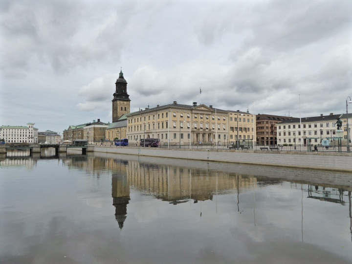 Göteborg's canal, with the Kristina church reflecting on the water