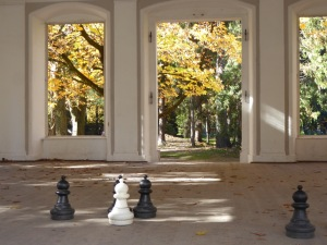 Chess pieces in the Imperial gardens' pavilion