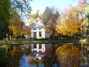 Innsbruck's imperial gardens: the pavilion reflecting in the pond