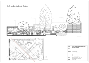Modernist garden: section-elevation with location plan