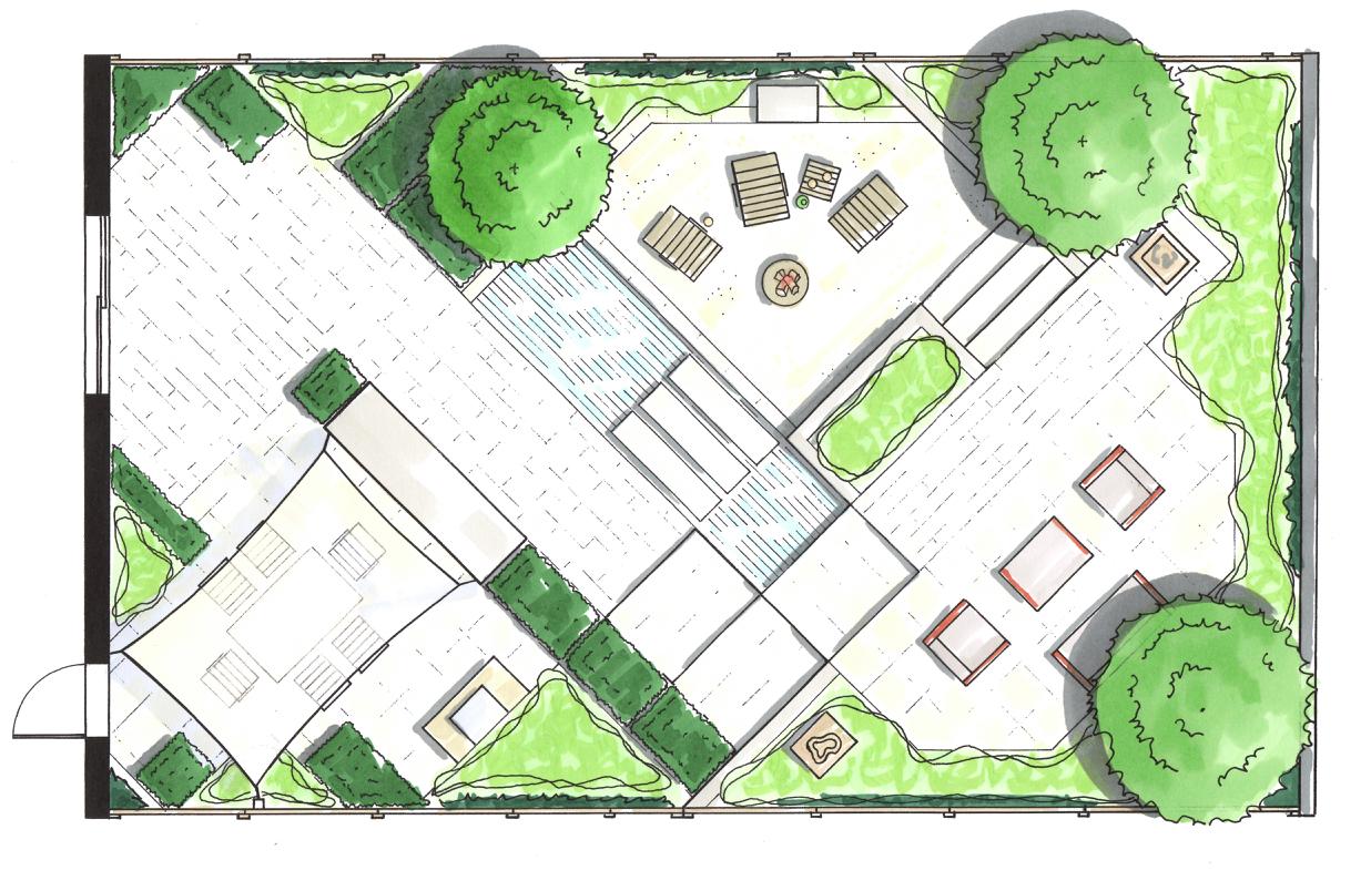 Modernist garden: design concept, rendered