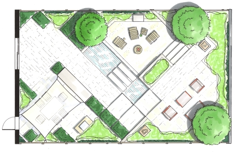 Modernist garden: design concept, rendered