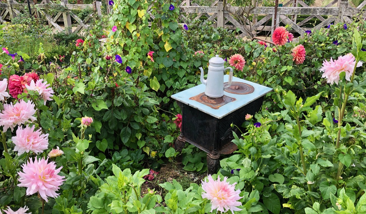 Playfulness at Potager Colbert: an old coffee pot and stove among the dahlias