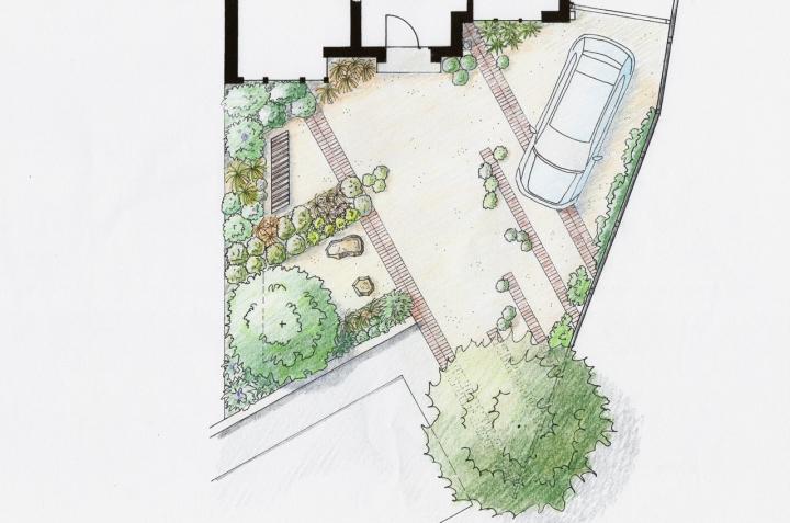 Sustainable front garden - alternative concept #2, colour