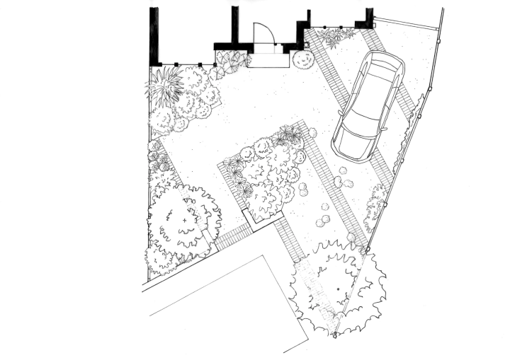 Sustainable front garden - concept, black and white