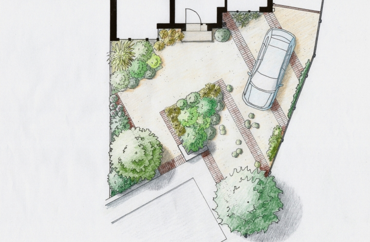 Sustainable front garden with space for people and car