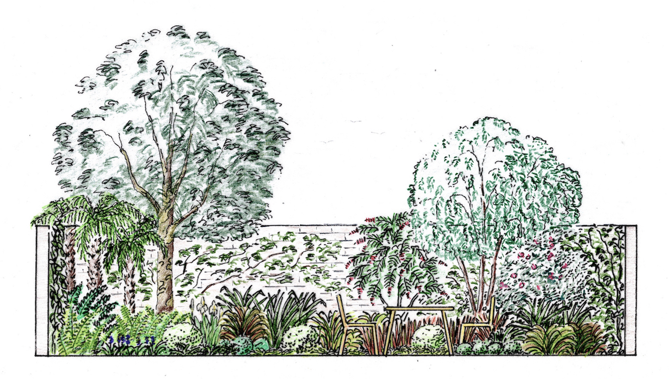 Colour elevation of the garden seen from the bottom of the steps